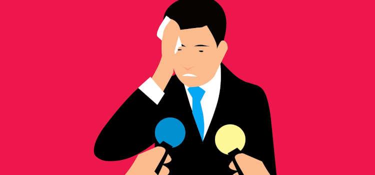 nervous man speaking in public